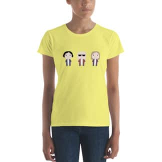 t shirt three cartoon figures yellow